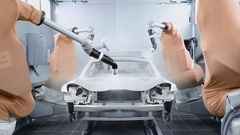 Industrial robots, car body paint Stock Footage