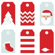 Cute modern Christmas holiday gift tags printables Stock Illustration