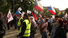 Demonstration against Islam, refugees, immigrants, Czech flags, Prague people Stock Footage