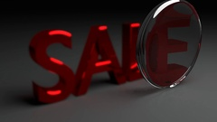 Focused Lens animation on Sale word in red letters Stock Footage