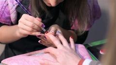 Nail art at nail salon. Close up Stock Footage