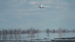 The aircraft performs landing Stock Footage
