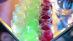 Tubs with Green and Red Caviar Stock Footage