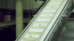 Bread moving on a conveyor belt, ready for baking in bakery Stock Footage