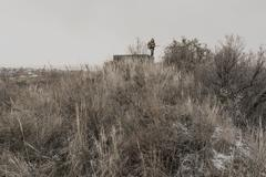 Young boy stands near an abandoned bunker Stock Photos