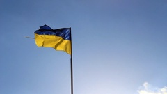 Flag of Ukraine is developing in the sun Stock Footage
