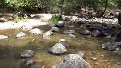 Cedar Creek Falls, Pond rocks Stock Footage