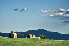 Vitaleta chapel in Val d'Orcia, Tuscany Stock Photos