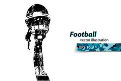 Football helmet and hand silhouette. Rugby. Stock Illustration