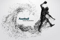 Silhouette of a football player from particle. Rugby. American footballer Stock Illustration