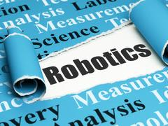 Science concept: black text Robotics under the piece of  torn paper Stock Illustration