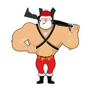 Soldier Santa with ammunition. Army Claus. Christmas War. Defender of new y.. Stock Illustration