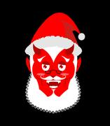 Krampus Satan Santa. Claus red demon with horns. Christmas monster for bad .. Stock Illustration