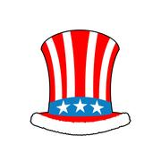 Patriotic Santa Claus cap. Winter Hat Uncle Sam. Christmas Cylinder hat and.. Stock Illustration