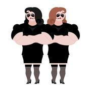 Female Bodyguard. Strong Woman guard at  nightclub. Black suit and hands-fr.. Stock Illustration