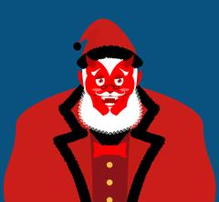 Satan Santa Krampus. Claus red demon with horns. Christmas monster for bad .. Stock Illustration