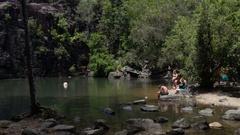 Cedar Creek Falls, People in water Stock Footage