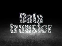 Data concept: Data Transfer in grunge dark room Stock Illustration