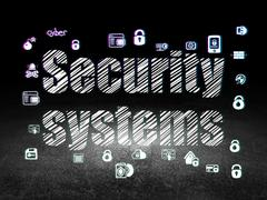 Safety concept: Security Systems in grunge dark room Piirros