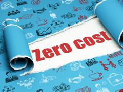 Finance concept: red text Zero cost under the piece of  torn paper Stock Illustration