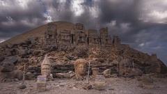 View of the ancient Armenian Turkey. Mount Nemrut Stock Footage