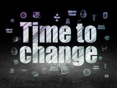 Time concept: Time to Change in grunge dark room Stock Illustration
