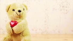 Toy bear with the red heart Stock Footage