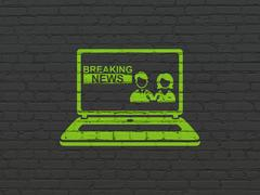 News concept: Breaking News On Laptop on wall background Stock Illustration