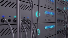 Server. Realistic LED. Working data servers. Camera moves to the right Stock Footage
