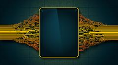 Mock up abstract circuit board with electronic display, hi-tech PSD Template