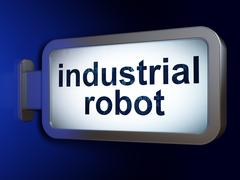 Industry concept: Industrial Robot on billboard background Piirros