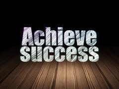 Business concept: Achieve Success in grunge dark room Stock Illustration