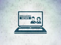 News concept: Breaking News On Laptop on Digital Data Paper background Stock Illustration