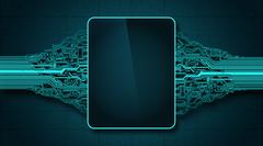 Mock up futuristic circuit board with electronic display PSD Template