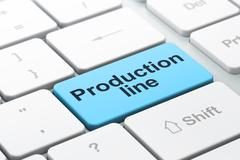 Manufacuring concept: Production Line on computer keyboard background Stock Illustration
