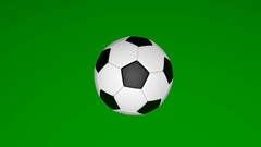 Football spinning, soccer ball, sports equipment isolated on green background Stock Footage