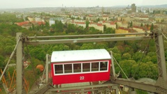 Close up aerial view of the ferris wheel from the ground, Vienna, Austria Stock Footage