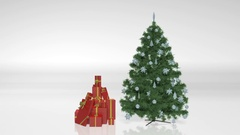 Christmas Tree with presents, holiday symbols isolated on white background Stock Footage