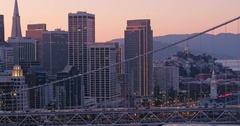 Aerial The San Francisco embarcadero and bay bridge Stock Footage