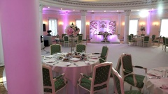 Banquet hall for a wedding in pink colors Stock Footage