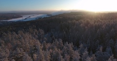 Beautiful Russian winter from above. Aerial drone 4K footage Stock Footage