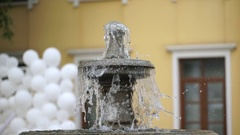 The multi-tiered stone fountain Stock Footage