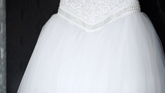 Luxurious wedding dress with a fluffy skirt and corset embroidered with pearls Stock Footage