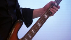 Bassist plays bass guitar Stock Footage