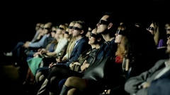 People Watch 3D Cinema Stock Footage