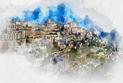 Digital watercolor painting of Gordes, is a very beautiful hilltop village Stock Illustration