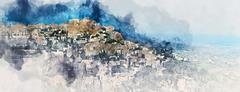 Digital watercolor painting of Gordes. France Stock Illustration