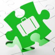 Travel concept: Bag on puzzle background Stock Illustration