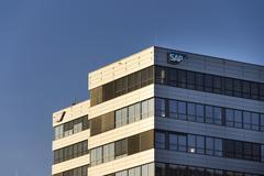 SAP multinational software corporation logo on Czech headquarters Stock Photos