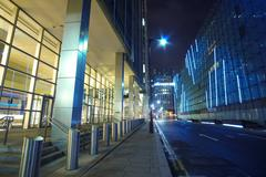 Modern skyscrapers at Canary Wharf in London - amazing night view Stock Photos